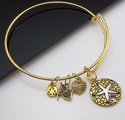 Pulseira Bracelete Banhada Ouro 4 Pingentes