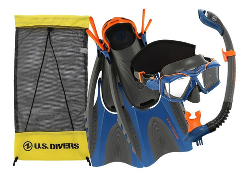 Imagen 1 de 6 de Kit De Buceo Snorkel Visor Cristal Aletas Us Divers Adulto