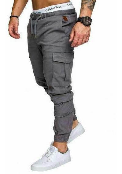 Increible Pantalon De Gabardina Elastizada Joggers Cargo !