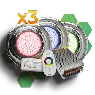 Kit Completo 3 Luces Led Rgb Para Piletas Piscinas 8x3