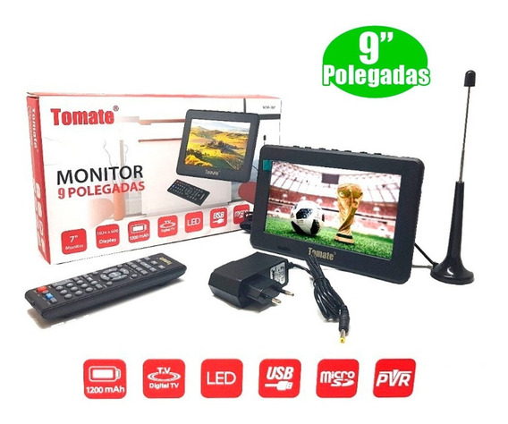 Kit Tv Portatil Hdtv Lcd 9 Polegadas Tela Monitor Tomate