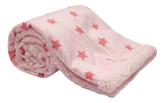 Cobertor Manta Rosa Dupla Face Estrelinhas Macio - Buba