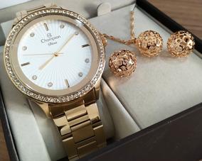 Relógio Dourado Champion + Colar E Brinco Cn29712w