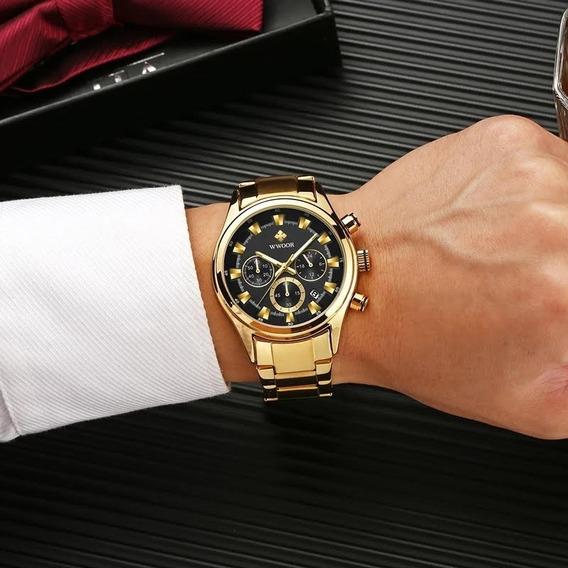 Relógio Wwoor Ouro Luxo Masculino A Prova D´água M3