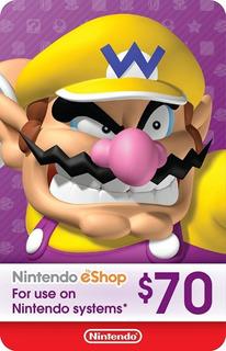 Tarjeta Nintendo Eshop 70 Usd Entrega Inmediata
