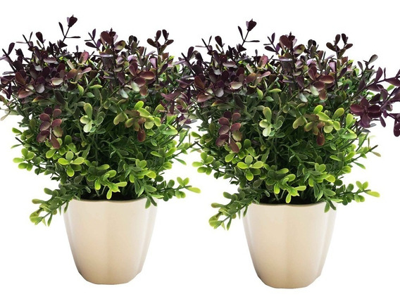 Plantas (2) Verde Y Violeta En Maceta Artificial De 25 Cm.