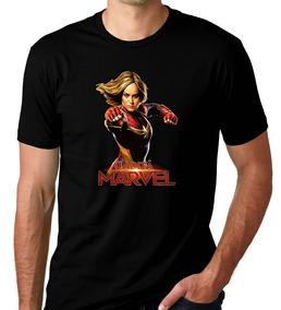 Camiseta Preta Capitã Marvel Herói Vingadores Brie Larson 03
