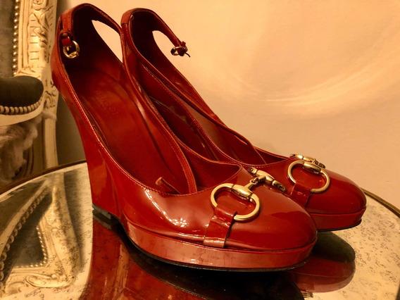 Zapato Gucci Original Rojo De Charol