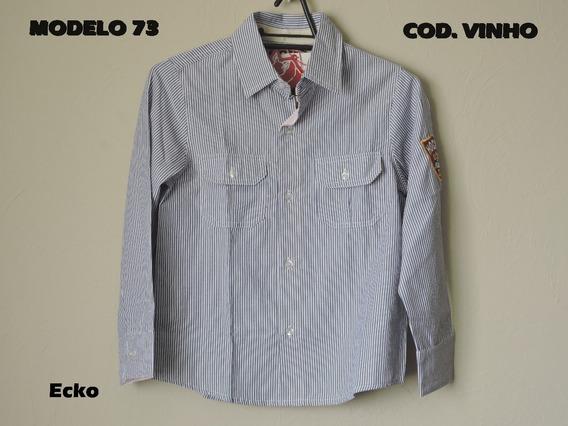 Ecko Camisa Social Infantil Masculina Listrada Azul