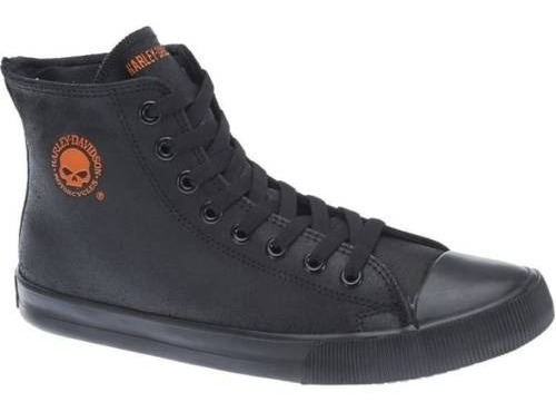 Harley Davidson Tênis Couro Cano Longo Black Orange Skull