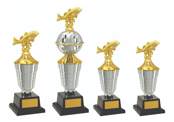Troféu De Pesca Kit 04 Troféus Personalizado. Frete Grátis