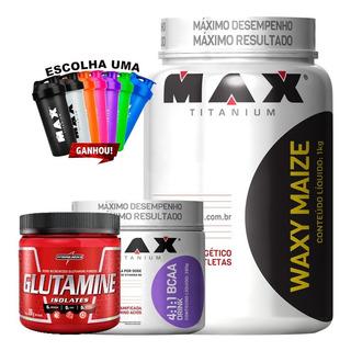 Kit Whaxy Maize Glutamina + Bcaa Pó 4:1:1 Drink Max Titanium