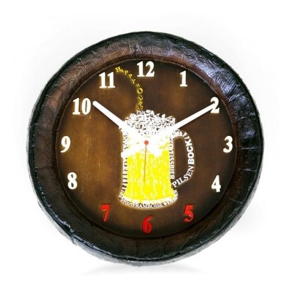 Relógio Barril Chopp Happy Hour Grande , Decoração