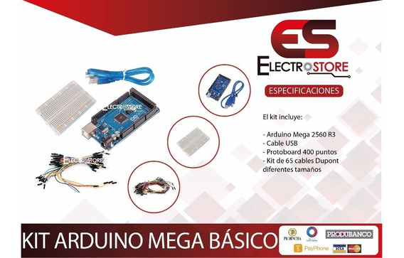 Kit Arduino Mega 2560 R3 + Protoboard 400p+ 65 Cables Dupont