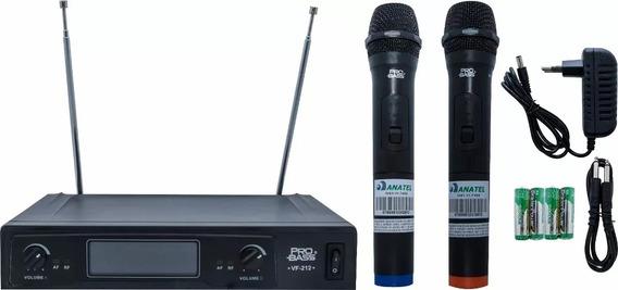Microfone S/f Duplo Vhf Karaokê Probass Vf-212 Pronta Entre