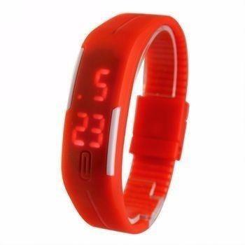 Kit Com 10 Peças Relogio Led Sport Bracelet Vermelho