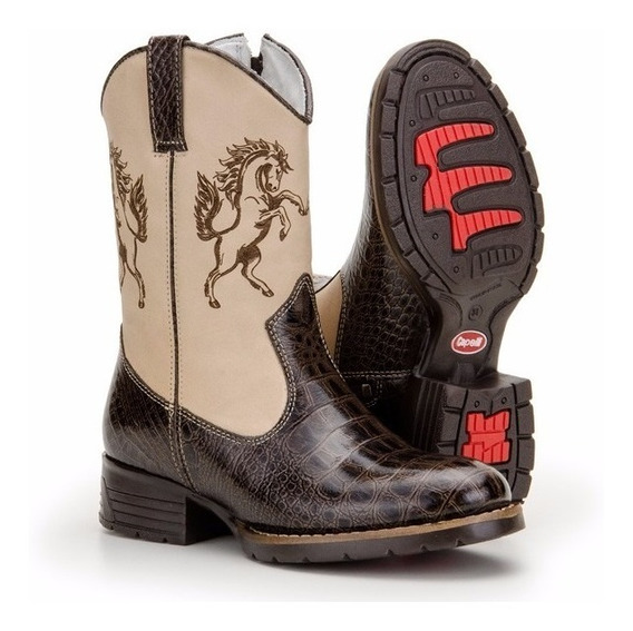 Bota Infantil Country Masculina Texana Couro Rodeo Capelli