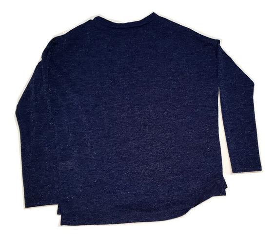 Sweater Cuello Redondo Azul Con Brillos Talle L
