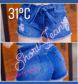 Short Jeans Curto Com Laço New Mark