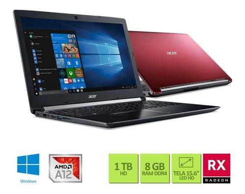 "Notebookgamer - Acer A515-41g-1480 Amd A12-9720 2.70ghz 8gb 1tb Padrão Amd Radeon Rx 540 Windows 10 Home Aspire 5 15,6"" Polegadas"