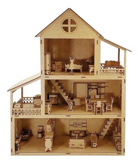Casa Casinha Boneca Barbie 80cm Polly Mdf C/ 50 Moveis