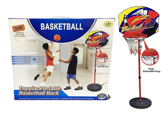 Juego Aro De Basquet De Pie Con Base Pie Regulable Pelota
