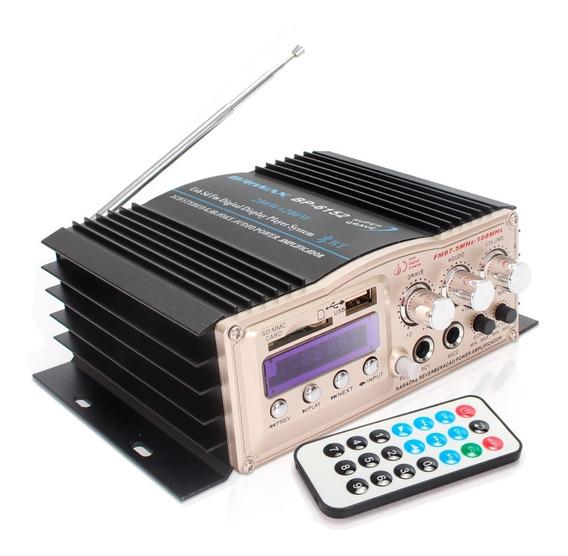 Amplificador Áudio Receiver 200w Bluetooth Usb Som Ambiente