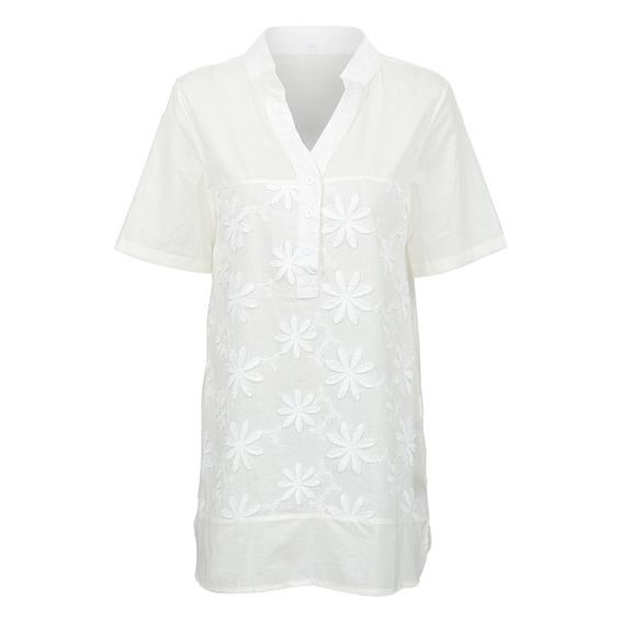 Novo Mulheres Verão Casual Vintage Blusa Floral Bordado V
