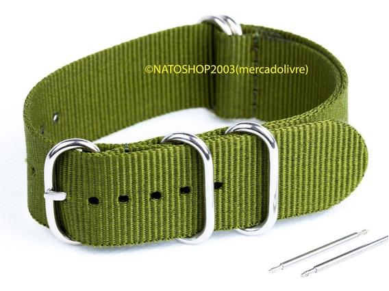 Pulseira Relógio Nato Zulu Nylon 24mm Verde Oliva 5 Anéis
