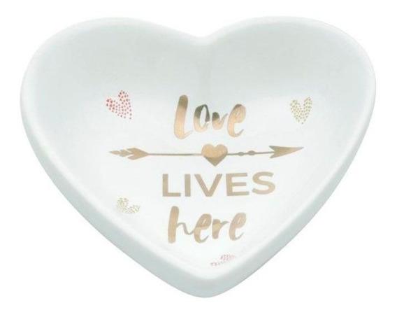 Porta Anéis Prato Decorativo Heart Love Branco - Urban
