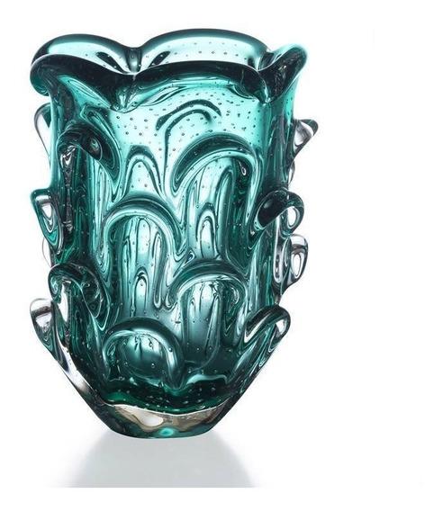 Vaso Cristal Murano Verde Esmeralda 26x18cm Sao Marcos 12x S