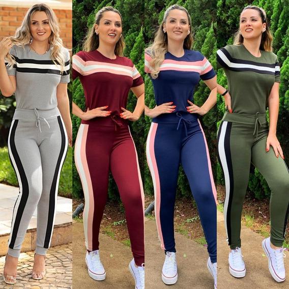 Conjunto Malha Crepe Calça E Blusa Feminino Promoção 2019