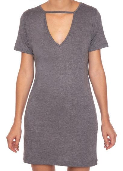 Camiseta Vestido Feminina Decote Choker Tumblr