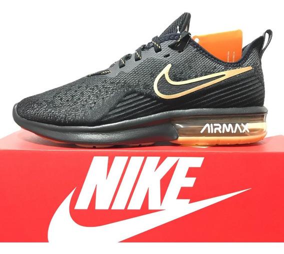 Tênis Nike Air Max Sequent 4 Preto E Dourado Original N. 40