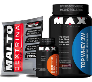 Combo Top Whey 900g + Fire Black + Malto - Max Titanium