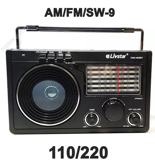 10 Rádio Am/ Fm Livstar Ou Livsky Usb Sd Bivolt Entrada Fone De Ouvido Bluetooth