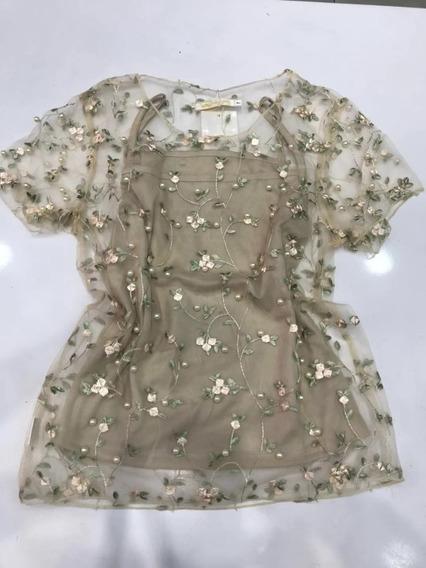 Blusa Feminina Tule Com Bordado Regata Verão Importado