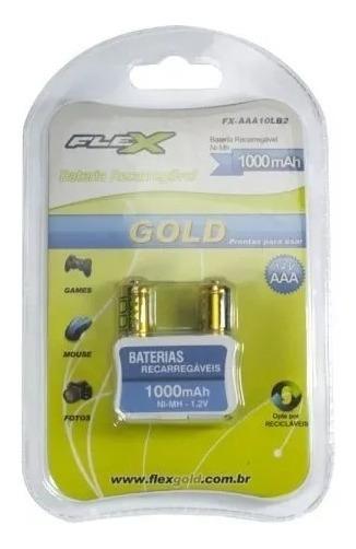 Pilha Recarregavel Aaa 1000mah 1,2v C/2 Flex Gold P