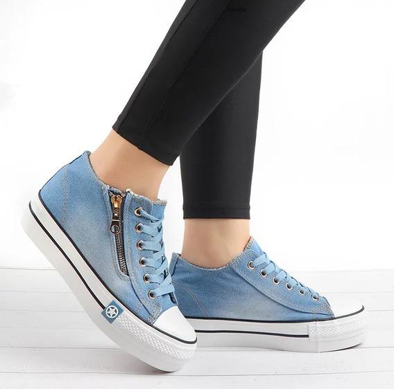 Tenis Plataforma Jeans Com Ziper Lateral+frete Gratis