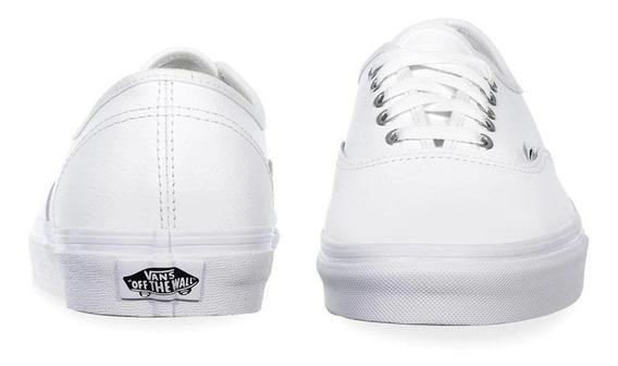 Tenis Vans Piel Authentic Leather Blanco Originales Unisex