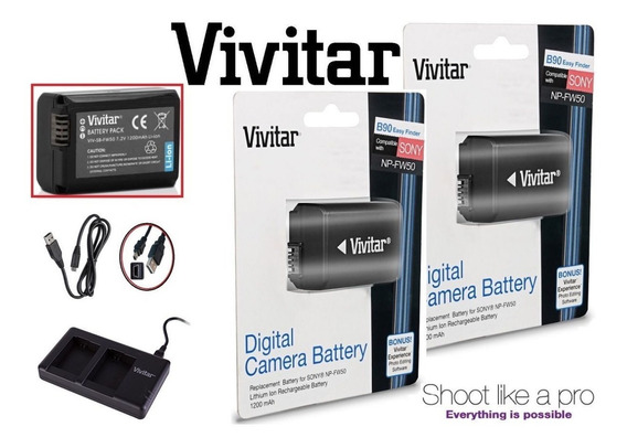 Kit 2 Baterias Vivitar Np-fw50 Sony - Lacrado Com Carregador