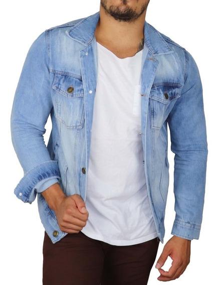 Jaqueta Premium Masculina Casaco Jeans Rasgada Slim 2019