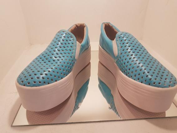 Zapatos De Mujer Panchas Cuero Capellada Calada Plataforma