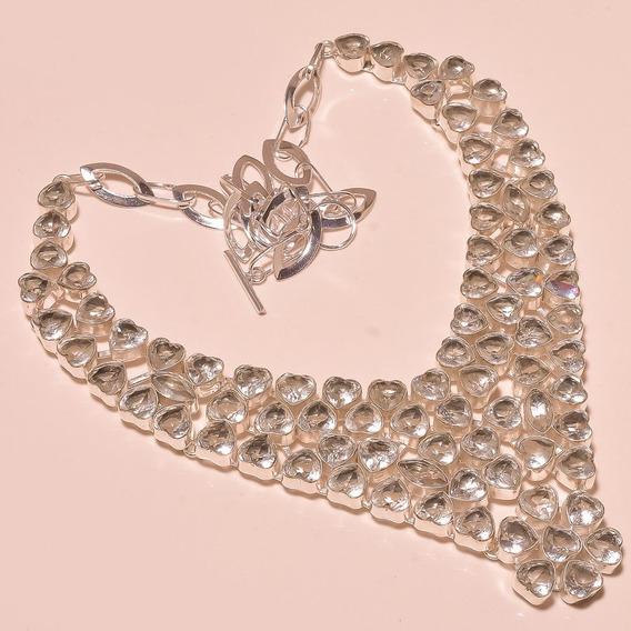 Collar Topacios Blancos Facetados Corazón En Plata Esterlina