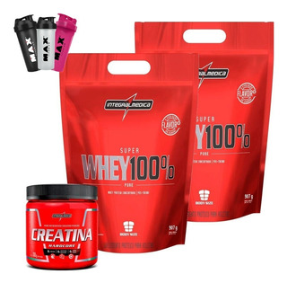 2x Super Whey 100% Pure Refil 907g + Creatina Integralmedica