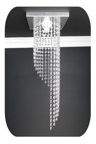 Lustre Cristal Acrilico Base Inox Sala Jantar Barato 20x60cm