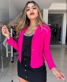 Blazer Feminino Liso Social Casaco Casaquinho Guipir