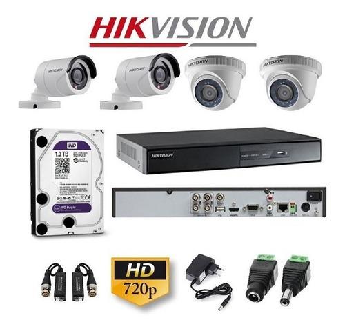 Kit De Video Vigilancia 4 Camaras Hd Hikvision
