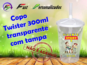 20 Copo Transp. 300ml Com Tampa Toy Story