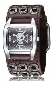 Relógiobarato Masculino Bracelete Marrom Punk Frete Grátis